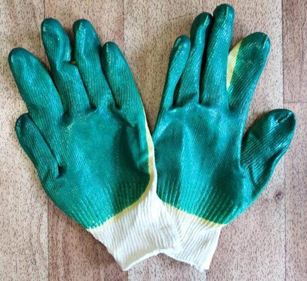Перчатки трикотажные хб с двойным латексным обливом класс выязки 13. Пара