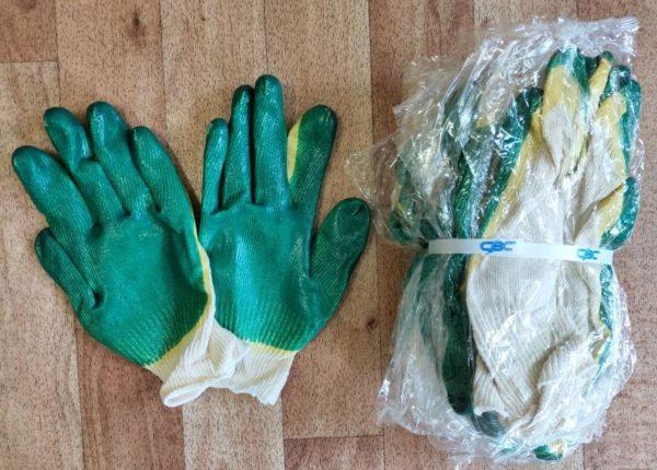 Перчатки трикотажные хб с двойным латексным обливом класс выязки 13. Упаковка открытая